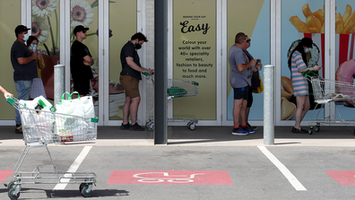 People queuing at Woolworths at West Torrens on November 18, 2020 in Adelaide, Australia after the six day lockdown was announced.