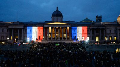 "London's famed Trafalgar Square was filled with around 2,000 people raising pencils to the sky. One person held up a giant paper heart with the message ""I Am A British Muslim"". Scores of people also rallied in the university city of Oxford. (Getty Images)"