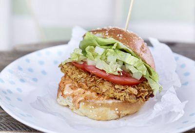 "Recipe: <a href=""http://kitchen.nine.com.au/2016/05/20/10/14/corn-flakes-chicken-burger"" target=""_top"">Corn Flakes chicken burger</a>"