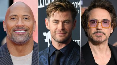 Dwayne Johnson, The Rock, Chris Hemsworth, Robert Downey Jr.