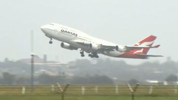 A Qantas flight taking off