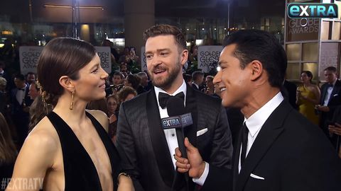 Justin Timberlake and Jessica Biel chat to Mario Lopez