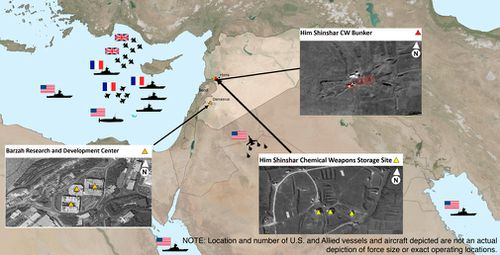Areas targeted in Syria by the US-led coalition in response to Syria's use of chemical weapons on April 7. (AP)