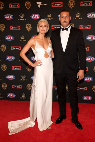 <p>Jesinta and Buddy Franklin at the 2018 Brownlow Medal red carpet, September, 2018</p>