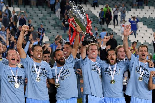 Sydney FC lifted the FFA trophy after a 2-1 victory. Picture: AAP