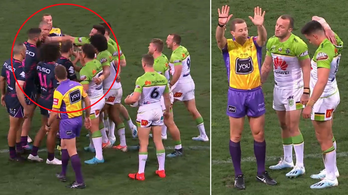 The Raiders had two players sin-binned in the win against Melbourne Storm