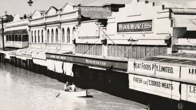 Woolworths Maryborough was inundated by flood water in 1955. (Supplied)