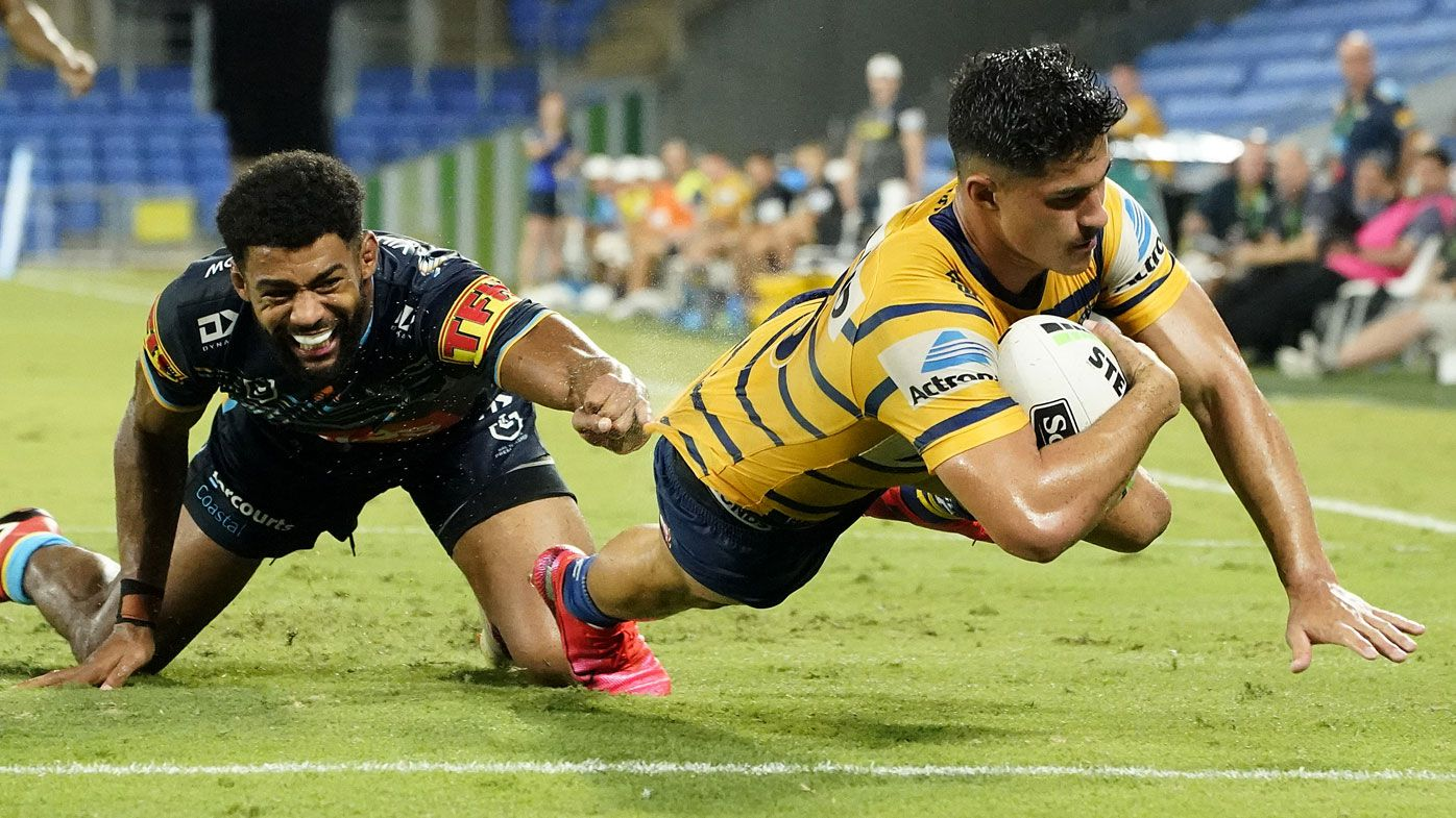 Dylan Brown of the Eels scores a try during the Round 2 NRL match between the Gold Coast Titans and the Parramatta Eels..