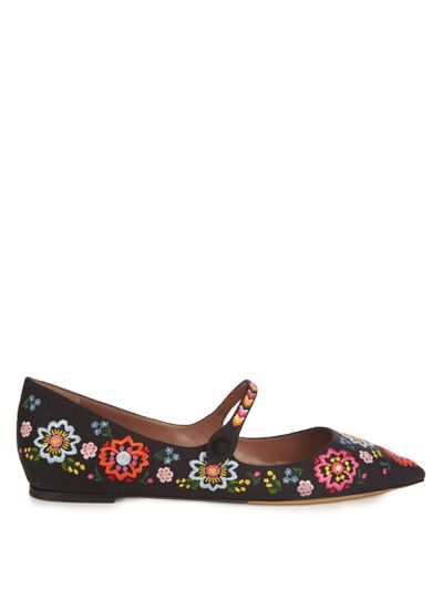 """Charlotte Olympia Hermione point-toed embroidered flats, $688 at <a href=""""http://www.matchesfashion.com/au/products/Tabitha-Simmons-Hermione-point-toe-embroidered-flats%09-1073745"""" target=""""_blank"""">Matches</a> <br>"""