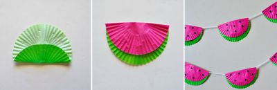 <p>1. Fold green cupcake liners down about 1/3 of the way. <br /> <br /> 2. Fold pink cupcake liners in half then glue them to the biggest side of your green cupcake liners. </p> <p>3. Put a line of glue along the folded crease of the green cupcake liner. Lay your white string onto the glue then re-fold the liner. </p> <p>4. Continue adding all of your cupcake liners to your string.</p> <p>5. Use your hole punch to punch out several black circles and glue on the seeds.</p>