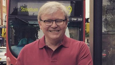 Kevin Rudd during a trip to London.