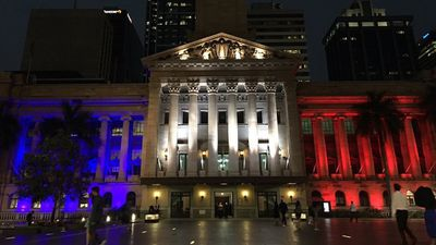 <p>Brisbane City Hall has been bathed in colour in solidarity with France. (Twitter, @RACQOfficial)</p>