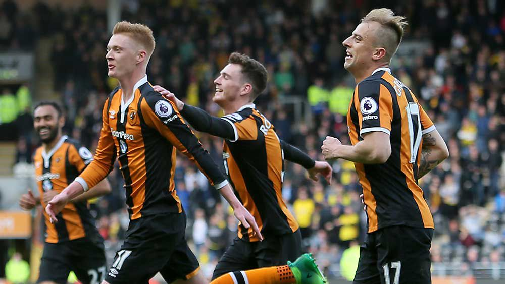 Hull City's Sam Clucas helps the Tigers beat Stoke. (AAP)
