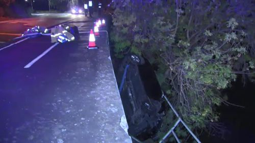 Driver rescued after falling down embankment, flipping against tree in Toorak