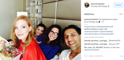 """<p>Nobody does beauty quite like Jessica Chastain. The actress and her friends opted for low-key pre-celebration preparations enjoying a salad and a lot of laughs.</p> <p>""""It's important to keep your energy up,"""" she quipped.</p> <p>Image: <em>Instagram</em>/@jessicachastain</p>"""
