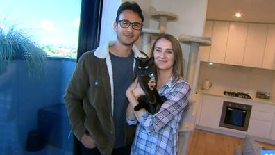 The young couple share a two bedroom apartment with a friend and their cat Figaro.