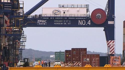 The incident occurred at Hutchinson Ports this afternoon. (9NEWS)
