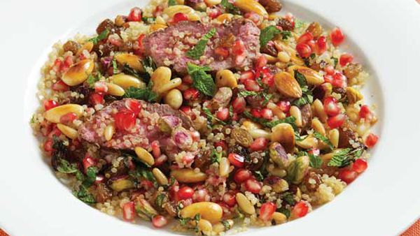 Rena Patten's lamb with quinoa, pomegranate, mint and nuts