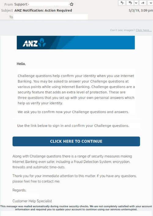 The sole purpose of this elaborate phishing scam is to harvest the login credentials of ANZ customers