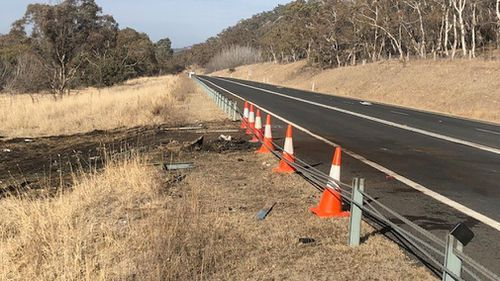 A major highway south of Canberra was closed for 10 hours after a fiery two-car crash overnight. Picture: 9NEWS.