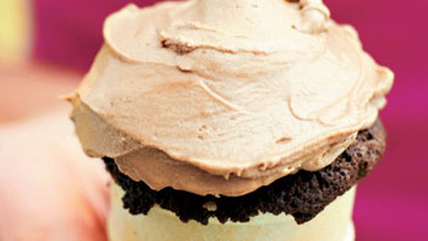 Chocolate cupcakes baked in ice-cream cones