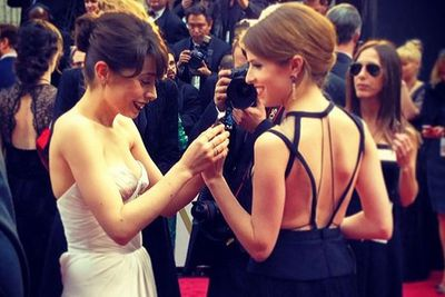 @theacademy: Cristin milioti and @annakendrick47 sharing a moment on the #oscars red carpet