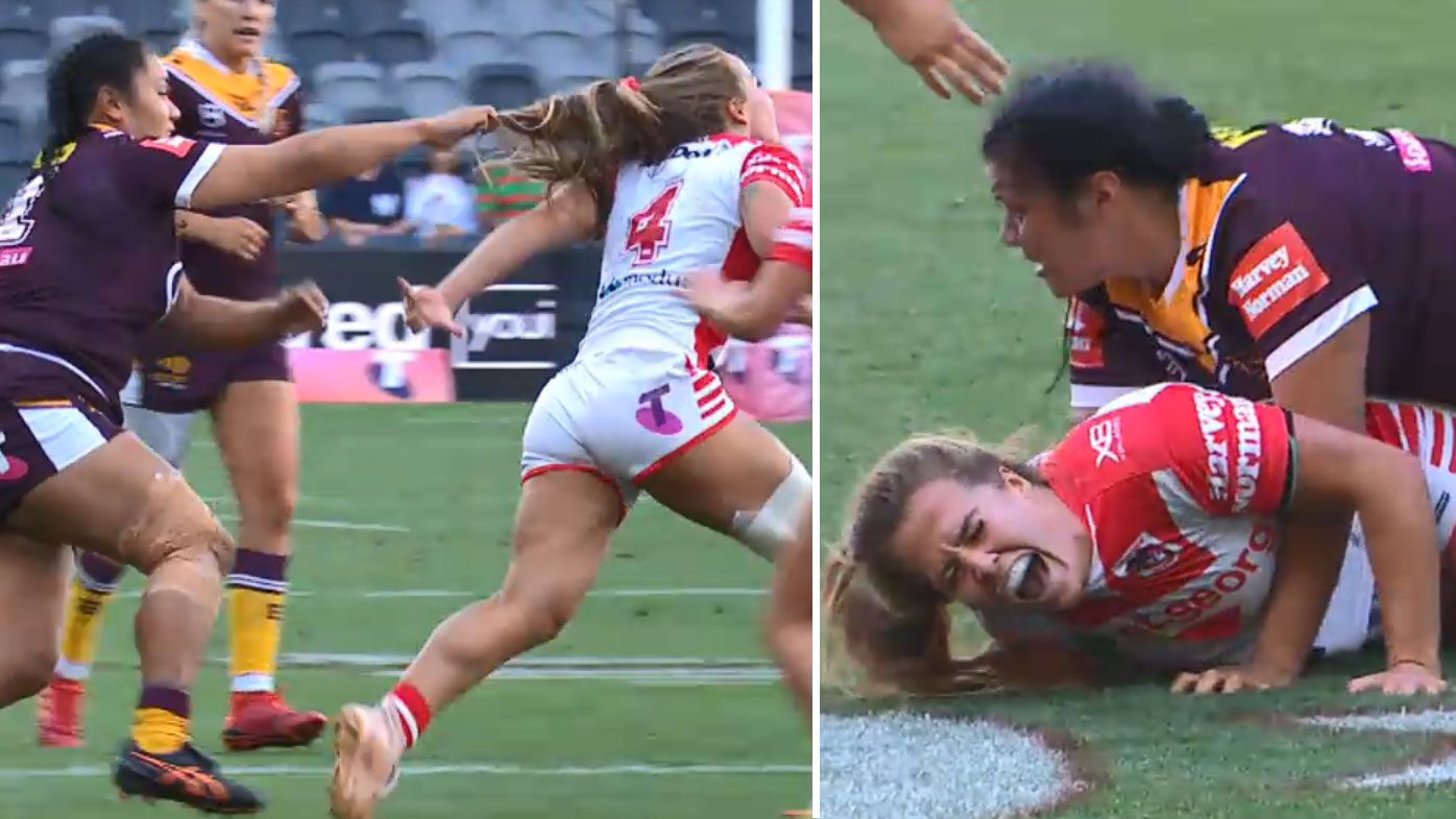 Dragons NRLW coach unloads after star injured in ugly hair-pull tackle