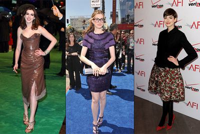 Anne Hathaway seems to cop a lot of undeserved flak, but when it comes to her fashion choices, we're afraid her critics might be justified. Exhibit A: Her attempt at nerdy-chic in a purple chandelier dress and thick framed glasses (middle).