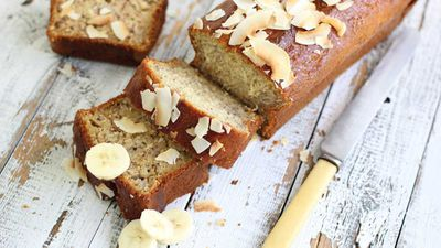 """Recipe: <a href=""""https://kitchen.nine.com.au/2017/05/10/16/57/banana-and-coconut-bread"""" target=""""_top"""">Banana and coconut bread</a>"""