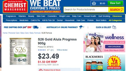 The S26 Gold Progress formula is out of stock at Chemist Warehouse's online store.