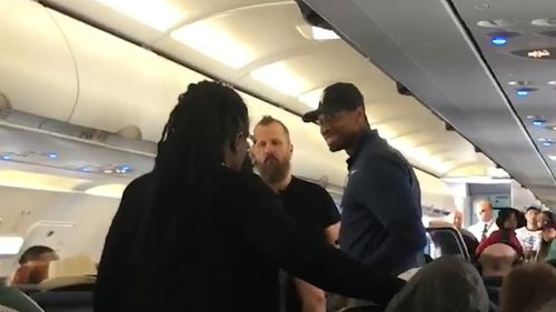 The woman erupted into the abusive tirade after the flight was grounded in Rochester owing to a passenger medical emergency, Spirit Airlines said in a statement. Picture: Facebook/Chianti Washington