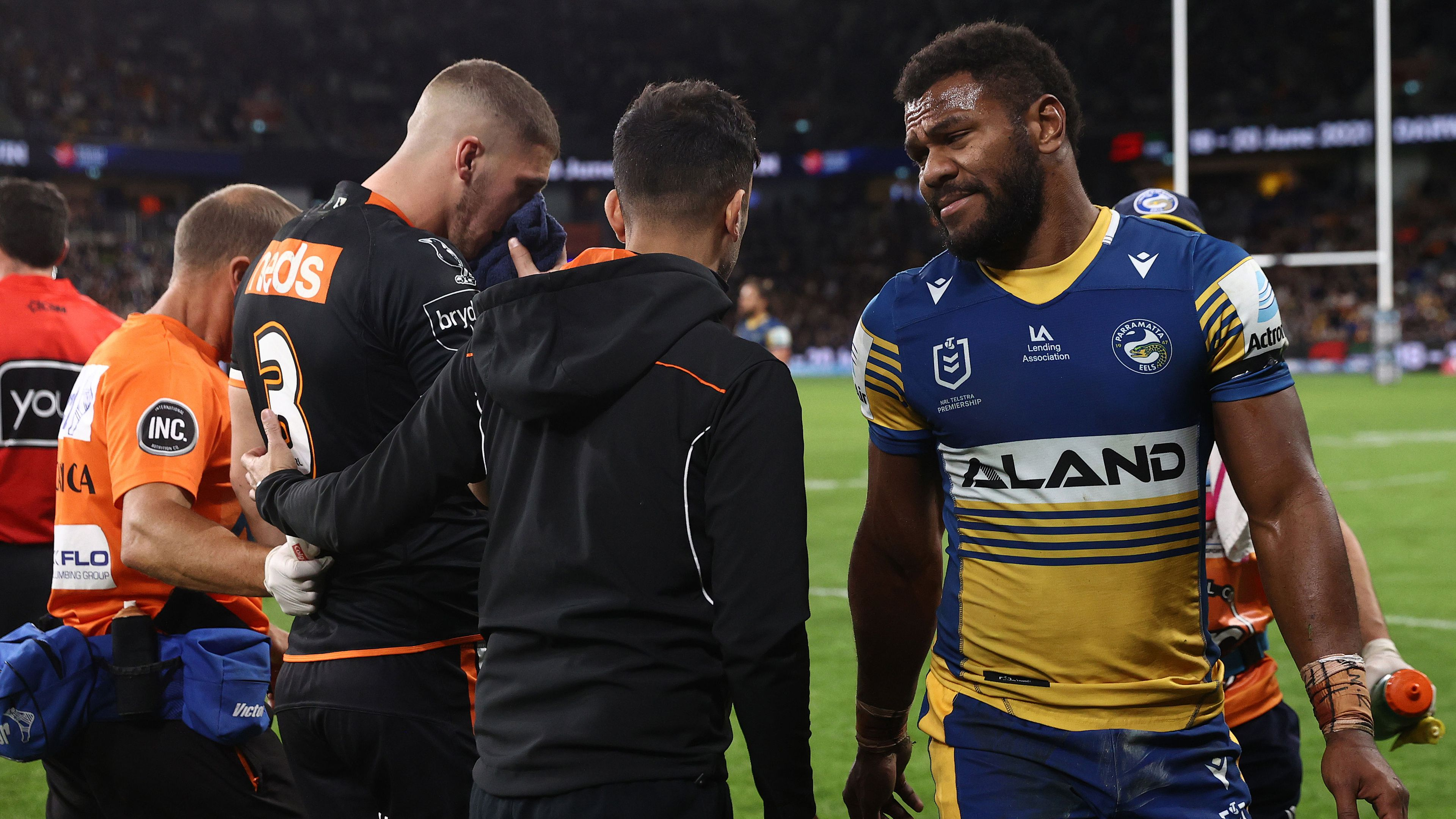 Eels cult hero Maika Sivo faces suspension for high hit on Tigers star Adam Doueihi