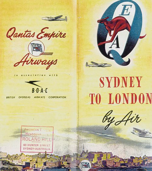 The Sydney to London route used to be for the ultra-rich, and was advertised in this historic leaflet.