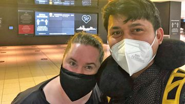 Amelia Elliott and Bowie Domingo pictured at the airport last week before his dash to Singapore.