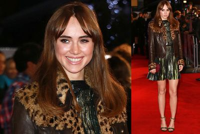 Suki Waterhouse struts the <i>Love, Rosie</i> red carpet, fresh from filming scenes for <i>Fifty Shades of Grey</i>.