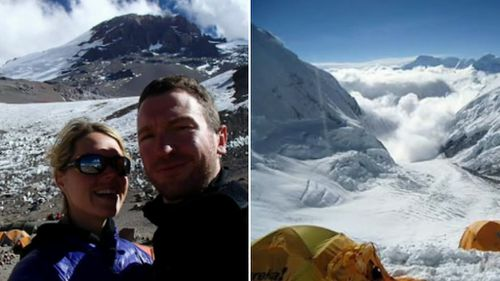 Maria Strydom and Robert Gropel (left), and part of the Everest climb (right).