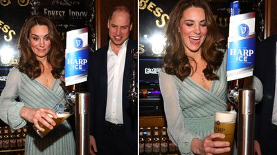 Duchess Kate pulls a pint in Belfast, February 2019
