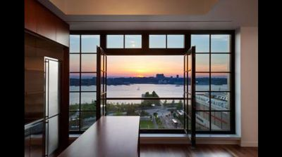 The apartment overlooks the Hudson River.