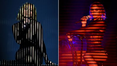 Jennifer Lopez's performance at the 2020 American Music Awards on the left is seen in comparison to Beyoncé's 2014 Grammys performance.