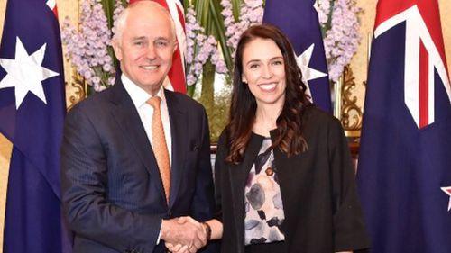 Prime Minister Malcolm Turnbull welcomed New Zealand Prime Minister Jacinda Ardern. (Twitter / @ccroucher9)