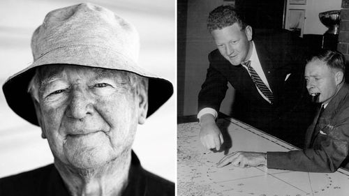 Peter Warner in a recent photograph (left), and in 1960 (left in right image) with the commodore of the Cruising Yacht Club, Mr. D.M. Brown, preparing for the Sydney to Hobart.