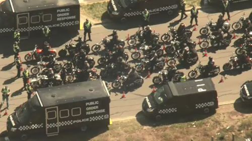 The bikies met the police at a checkpoint not far from where they gathered after arriving in Melbourne.