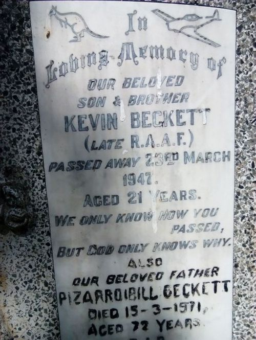 The headstone on the Beckett family grave, commemorating war veterans Pizarro and Kevin Beckett.