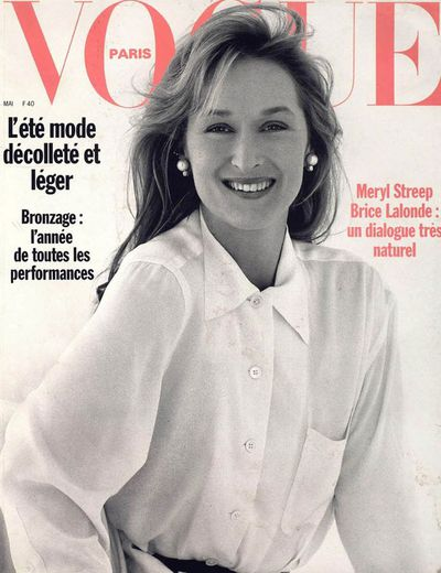 Streep first appeared on the cover of French <em>Vogue </em>in 1989, photographed by Brigitte Lacombe.&nbsp;