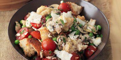 Bread salad with tomato, peas, mushrooms & pecorino