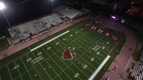 The football field at Destrehan High, where the student was a player. (St Charles School District)