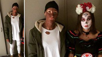 Opals player Alice Kunek dressed in blackface. (Instagram)