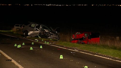The cars collided about midnight. Picture: 9NEWS