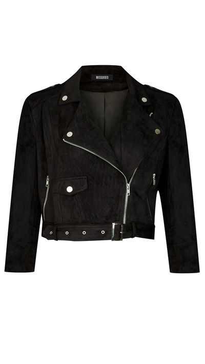 "<a href=""https://www.missguidedau.com/plus-size-faux-suede-biker-jacket-black"" target=""_blank"">Plus Size Faux Suede Biker Jacket, $90, Missguided</a>"