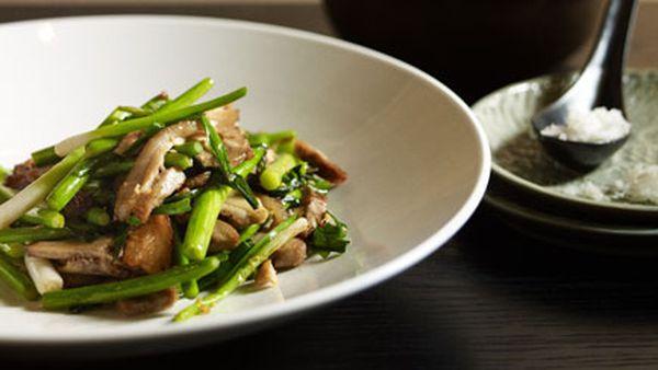 Neil Perry: Stir-fried salt pork with garlic chives and garlic stems